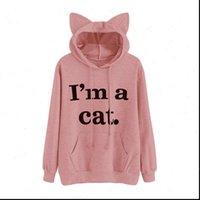 Im cat письмо печати женская рубашка уха с капюшоном регулярный полный рукав сладкий с капюшоном пуловер осень женская девушка толстовка большая