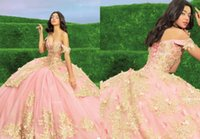 2021 Modern Pink and Gold Embroidery Quinceanera Dresses Off the shoulder with Sleeves Ball Gown Tulle Boho Applique Sweet 15 Prom Eveening Dress