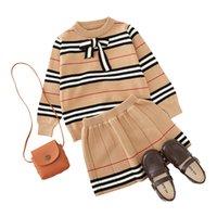 2021 otoño nueva llegada chicas punto 2 piezas traje top + falda ropa para niños ropa de niñas 296 Z2