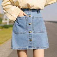Skirts Summer High Waist Twice Pocket Short Slim Blue Denim Skirt Button All-matched Hips Jean Mini For Teen Girls 80s 90s Women