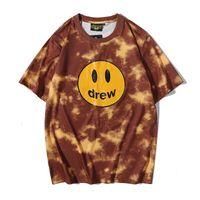 Drew Smiley Face Tie-Dye T-shirt a maniche corte Justin Bieber Men And Women Couples Wild High Street Street Trend T-Shirt