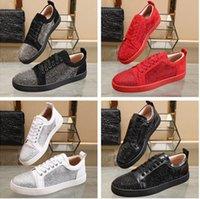2021 (avec boîte, sac à poussière) Top Qualité Rouge Chaussures de fond Baskets Strass Strass Sneakers Soupes Red Sole Sole Femmes Femmes Flats Fashion Casual Shoe