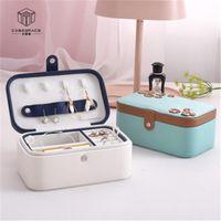 Storage Boxes & Bins Travel Jewelry Box Leather Square Lipstick Nail Polish Makeup Bag Double-layer Earring Organizer