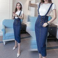 Sapanlar Kadın Düğme Jeans ile Uzun Denim Etek Artı Boyutu Yüksek Bel Sonbahar