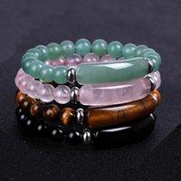 Natural Crystal Fashion Stone Healing Brand Stretch Luxury Beaded Bracelet Women Men Handmade Precious Tiger-eye green DKLJY