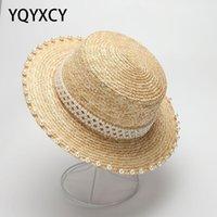 Sombreros de verano para las mujeres hechas a mano perlas perlas paja plana piso sombrero hembra sol protector de playa vacaciones japón ancho ala