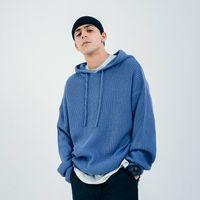 Men's Hoodies & Sweatshirts Outono inverno malhas luz azul hoodie masculino solto oversized do vintage bonito casual moletom com c