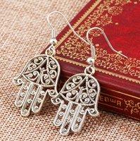 Fashion Ancient silver color Pierced Hand Hook Earring Dangle Earrings Drop Brincos For Women Girl Bohemian
