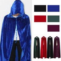 Volwassen mannen vrouwen fluwelen hooded halloween kostuums mantel middeleeuwse heks vampier tovenaar cape fancy jurk cosplay jas
