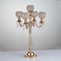 Candle Holders 85cm Tall Gold Wedding Candelabras With Crystal Balls Props Table Centerpiece 2 Pcs lot Centros De Mesa Para Boda