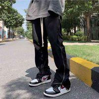 Брюки Harajuku Side Full Zipper Drawstring Flatspants Мужские Невазительные Высококатание Свободные Повседневные Брюки Сплошной Beaggy Track Track