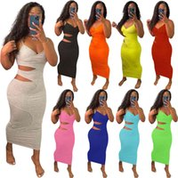 Sexy Sling Sleeveless Women Casual Dresses Fashion Hollow Out Split Layer Solid Color Deep V Neck Slim Pencil Dress Designers Clubwear