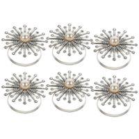 Napkin Rings 6Pcs Sunflower Rhinestone Pearl Buckles Table Holders