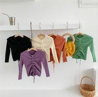 Baby Girls Pull Sweater Cordon Arrosts Pull à manches longues Enfants Enfants Coton Knitwear Boutique Vêtements Enfants Vêtements d'hiver 6 couleurs DW6172