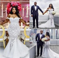 Modest Plus Size Wedding Dresses Mermaid Off Shoulder Sweetheart Trumpet Bridal Gowns Sweep Train Tulle Lace AppliquedDress BA4945