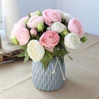 Cabeza rosa / manojo loto ramo nupcial artificial flores fake organizar mesa margarita boda casa decoración fiesta accesorio decorativo flores de flores