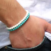 페르시, 스트랜드 패션 남자 팔찌 서퍼 세트 망 페르시 손목 팔찌 4mm TurquoiseBeads Whiteagate 선물