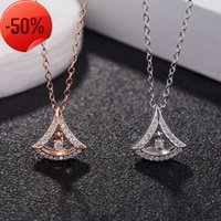 S925 Sterling Silver cut-out skirt umbrella Necklace Versatile Single Diamond clavicle chain micro inlaid diamond pendant for women