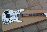 최고 품질 사용자 정의 샵 KH-2 Kirk Hammett Ouija 화이트 일렉트릭 기타 블랙 하드웨어 도매