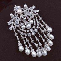 Broche de la vendimia de la gota blanca de la perla de la perla de agua dulce para la joyería de la moda de la mujer de la mujer