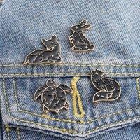새로운 보석 펑크 동물 브로치 크리 에이 티브 만화 토끼 7 스타 무당 벌레 모델링 배지