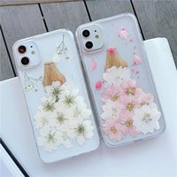 Cute Girl Dry Flower Phone Cases For iphone 11 12 Pro Max Xs Xr SE 7 8 plus Cellphone Protector Giltter Clear Cover .