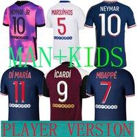 Maillots 21 22 Jerseys Paris PSGjersey fußball mbappe dd spieler version 20 2021 vierte 4th icardi shirt männer kinder maultrot de fuß enfants cup liga fan marquinhos