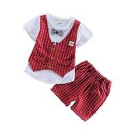Clothing Sets Summer Children Gentleman Clothes Baby Boys Girls Cotton T Shirt Shorts 2Pcs Set Kids Infant Toddler Fashion Sportswear