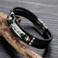 Charm Bracelets 19G 21Cm Europe And America For Men Pu Leather Black Stainless Steel Jesus Christian Catholicism Cross Jewelry