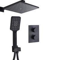 Vidric bagnolux exclusivo fosco preto termostático torneiras definido termostato banheiro chuva chuveiro desviador sistema com plástico handsho sets
