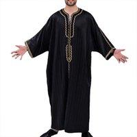 Ethnic Clothing Style Fashion Vintage Long Sleeve O Neck Muslim Arabic Islamic Mens Solid Color Robes Saudi Jubba Thobe