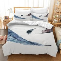 성인 홈 침실 장식 섬유 침구 세트 다채로운 꽃 깃털 패턴 패션 duvet 커버 및 베개 세트