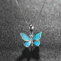 Insect Jewlery 925 Sterling Silver Blue Opal Butterfly Pendant Necklace With Chain For Gift