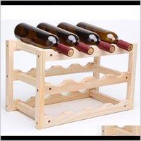 Tablimback Racks Cozinha Armazenamento Armazenamento Organização Home Garden Drop Gotas 2021 Rack de madeira 12 titular dobrável vinho Mount Bar