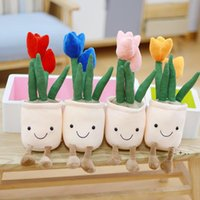 Casa Decoração de Mobiliário Sala de estar Simulação Criativa Rosto Fleshy Pelúcia Brinquedo Tulipa Buquê Green Plant Adornment Grab FWF9930
