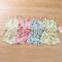 طفل بدلة فتاة ارتداء الملابس مجموعة زهرة طباعة حبال حمالة الصدرية القوس السراويل 2 قطع الصيف الزي الملابس