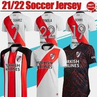 21/22 Plate River Soccer Jersey # 9 J.Alvarez # 7 M.Suarez Camicia da calcio domestica # 22 Pinola # 19 Borre 2021 2022 Uomini Adulto Away Sveglia uniformi a manica corta