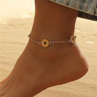 Summer Beach Daisy Alloy Anklets European Women Sunflower Foot Chain For Vacation Party Gift Floral Gold Anklet Link Jewelry Accessories Wholesale