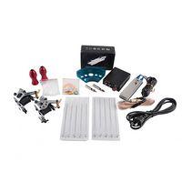 Komplette Tattoo-Waffe-Kits 2 Maschinen Waffen Sets 10 Stück Nadeln Stromversorgung Tipps Griffe Tätowierungen Kits für Anfänger Großhandel