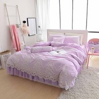 Set di biancheria da letto 8pc / 6pc Lace Bedcover Set Red / Pink Luxury Wedding Cover King Gonna Double Queen Sheet Letto Duvet