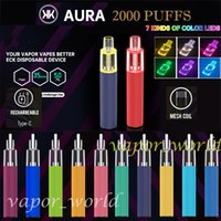 Aura 2000 퍼프 일회용 vape e 담배 충전식 배터리 미리 가득 찬 5 ml 포드 장치 7 색 기분 빛 Vs r 및 m randm dazzle