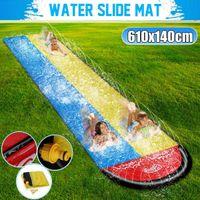 6.1M Inflatable Water Slides Mat Double Dual Person Surf Rider Slider Splash Pool Kids Park Backyard Water Play Mat Outdoor Fun A0517