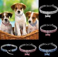 Elastic Force Dog Collars 3 Rows Rhinestone Leash Pet Supplies Dogs Collar Adjustable Chain Bone Decorate dff1929