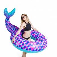 Design de forma de sereia anel de natação de natação segurança adultos piscina esteira de flutuação super aconchegante água criativa jogar tubos infláveis novo 41xr z