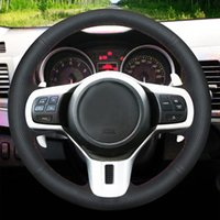 Hand-stitched Black Genuine Leather Car Steering Wheel Cover For Mitsubishi Lancer 10 EVO Evolution Outlander 2010