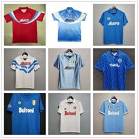 Maradona 1986 1987 1988 1999 Napoli 복고풍 축구 유니폼 빈티지 87 88 89 91 93 Coppa Italia 나폴리 클래식 축구 셔츠