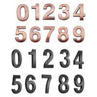 Nowość Elementy 0-9 Samoprzylepne Numer 3D Naklejki Bronze Plate Sign Do House Mieszkanie Szafka Stołowa Skrzynka Skrzynka Zewnętrzna Numer Drzwi