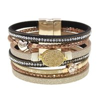 Tennis Women Bracelets Bohemia Leather Multilayer Wrap For Magnetic Clasp Female Jewelry