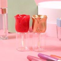 10.5ml Tubes de brillance à lèvres vides de la lèvre transparente Conteneurs de bouteille de baume à lèvres de bricolage avec bouteille rechargeable en forme de fleur de rose