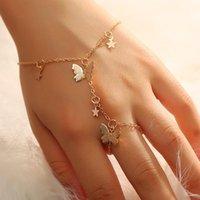 Charm Bracelets Design Gold Color Star Butterfly Bracelet For Women Fashion Connected Finger On Hand Female Ring Boho Jewelry Gift